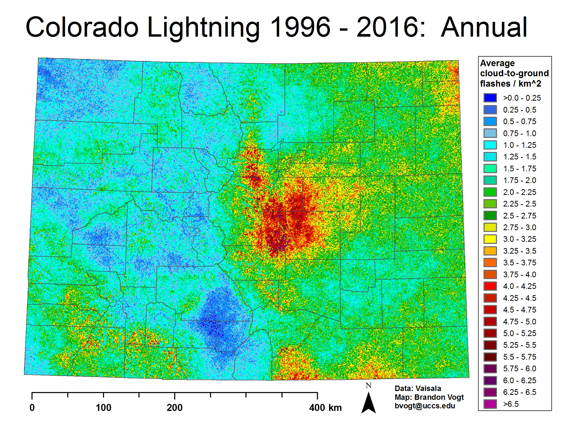 Colorado Lightning Strike Map NWS Pueblo Lightning Page   CG Flash Density Maps