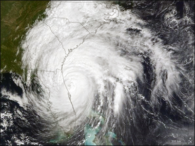 hurricane matthew satellite view 2016