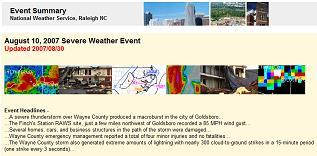 Event summary example - August 10, 2007 Severe Weather Event Summary - click to open