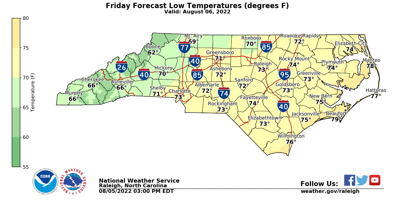 Today's Low Temp Forecast for NC from NWS
