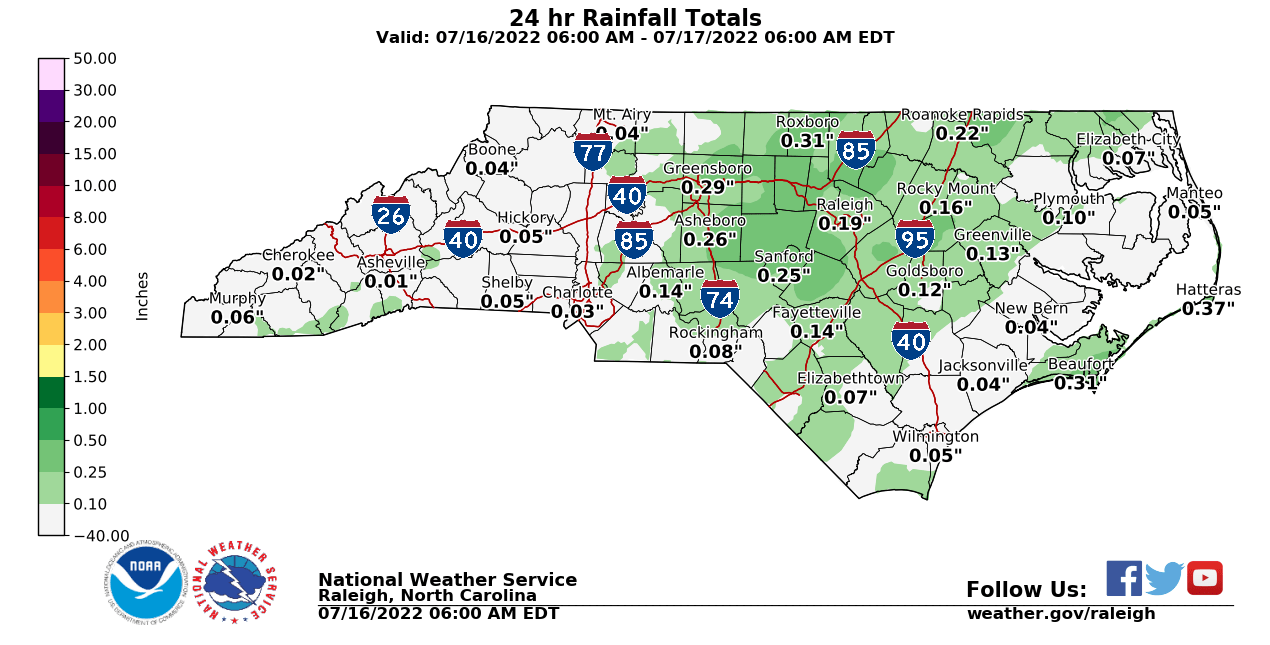 Today's Rainfall Forecast for NC from NWS