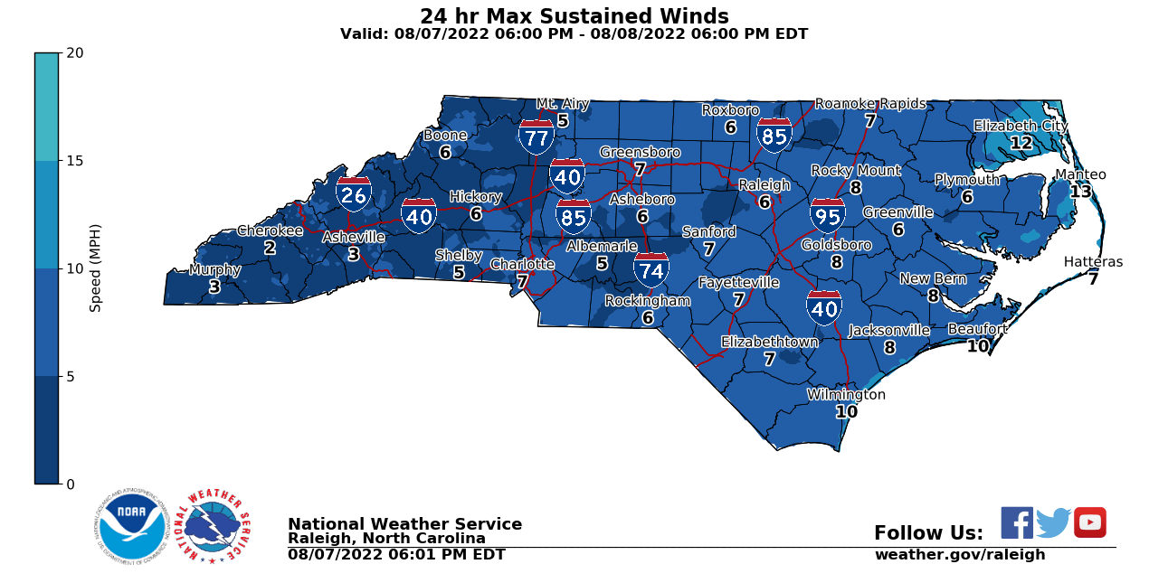 Today's Max Wind speeds Forecast for NC from NWS