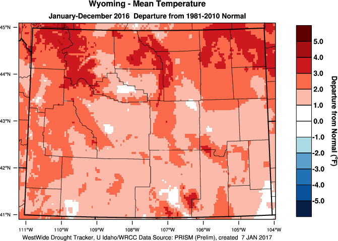 Wyoming: 2016 Departure from Normal Temperature