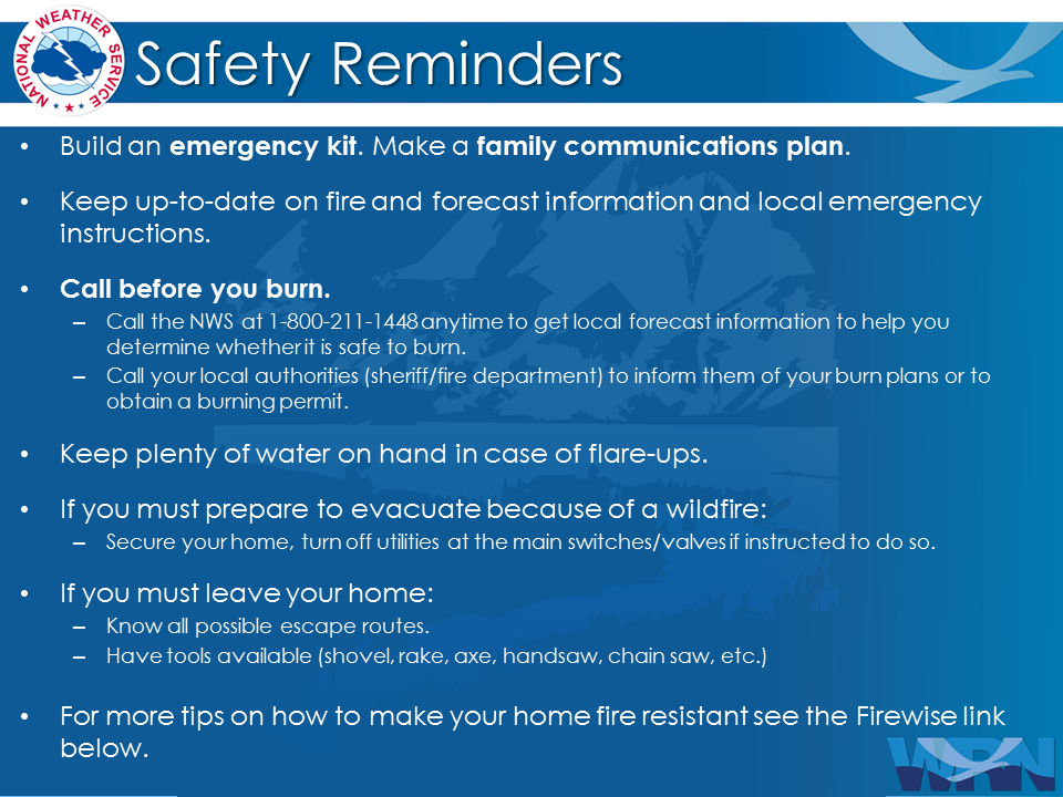 Safety Reminders