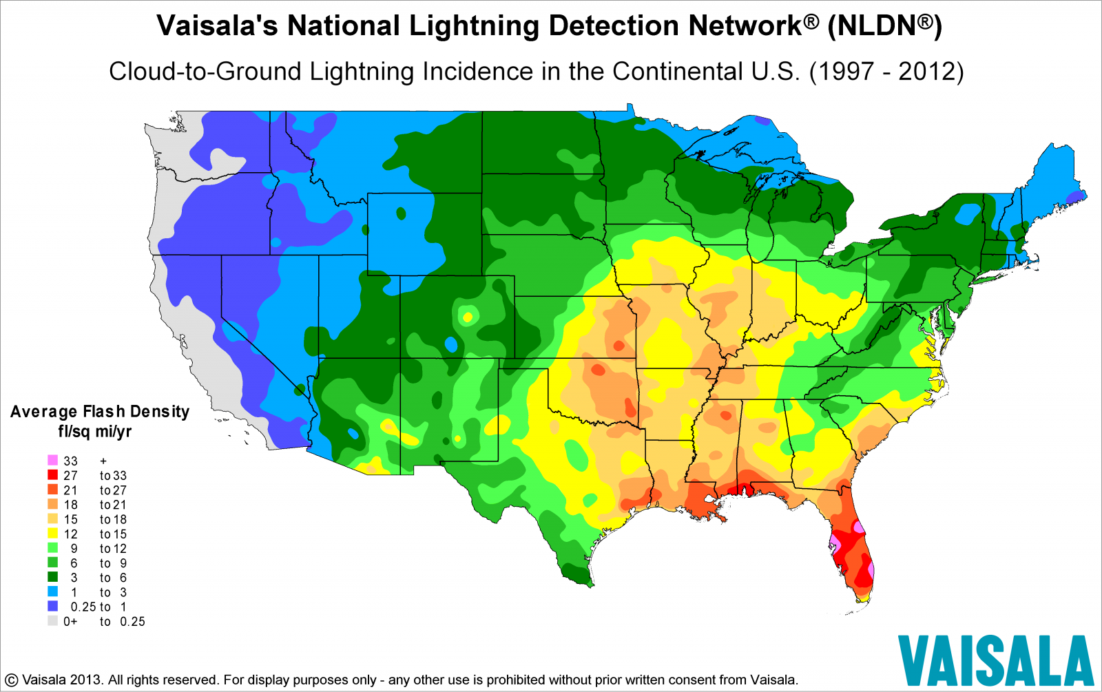 Vaisala Lightning Flash Density Map