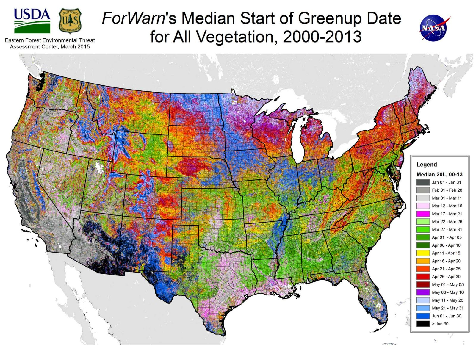 Median Start of Greenup Date for All Vegetation - Click to Enlarge