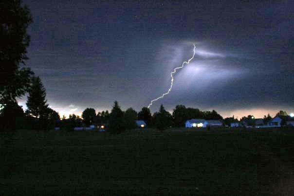 Lightning photographed near Riverton, WY