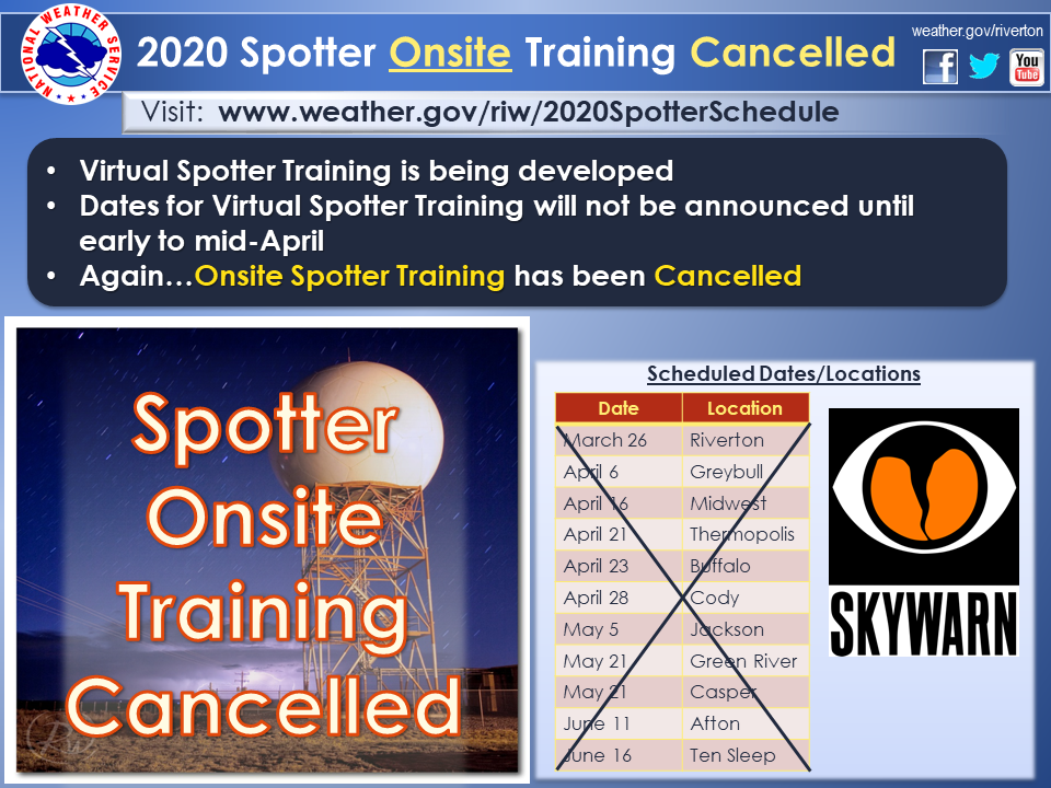 2020 Spotter Onsite Training has been Cancelled Infographic