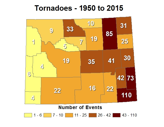 Wyoming Tornado Statistics from 1950 to 2015