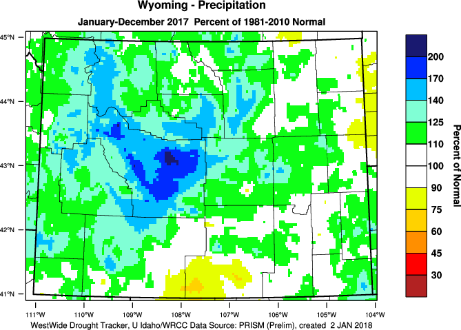 Wyoming: 2017 Percent of Normal Precipitation (Click to Enlarge)