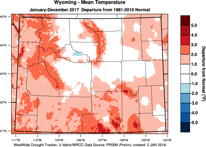 Wyoming: 2017 Departure from Normal Temperature