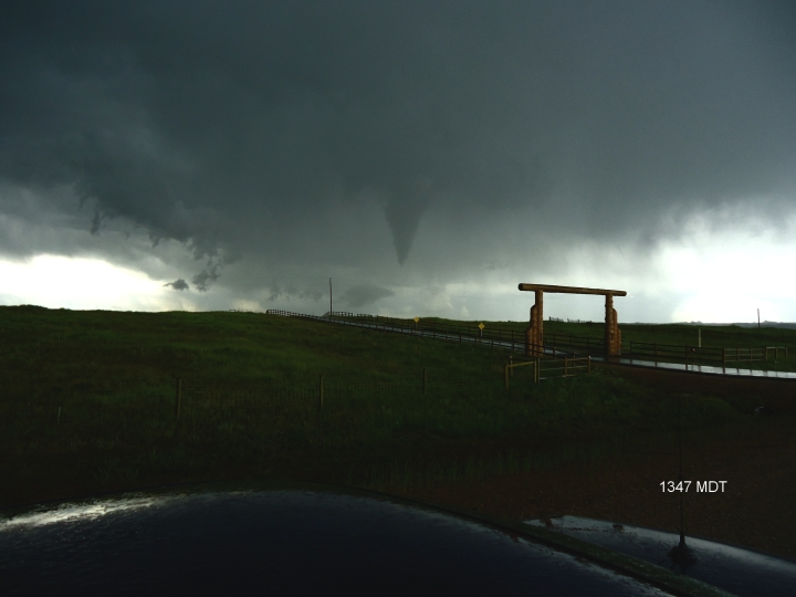 A funnel west of Cheyenne on June 25, 2014.