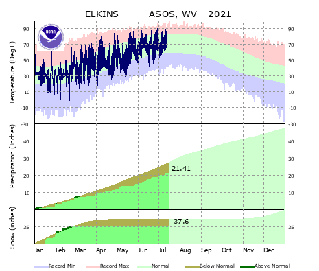 the thumbnail image of the Elkins, WV Climate Data
