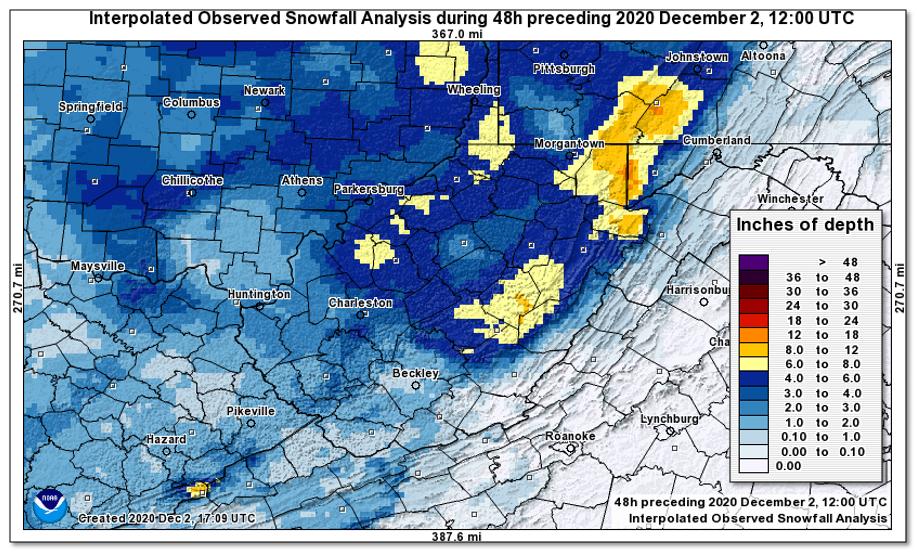 48 hour snowfall estimate ending 7 am 12/2/2020 fromNational Operational Hydrologic Remote Sensing Center