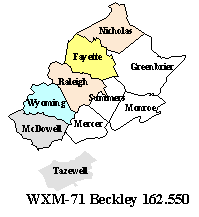County coverage map for transmitter