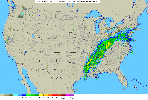 Figure 3- Radar map from 11 PM, Sunday, January 22, 2006.