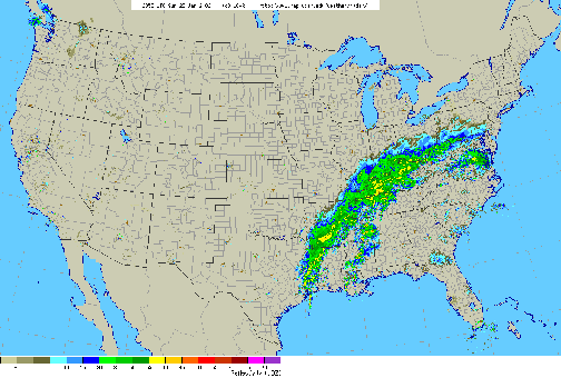 Figure 2- Radar map from 7 PM, Sunday, January 22, 2006.