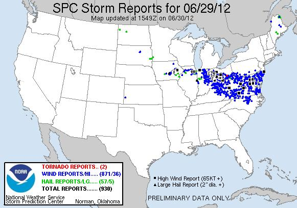 Figure 12. Local storm reports plotted for 29 June 2012 from the Storm Prediction Center.