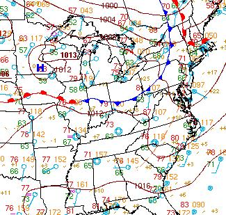 Figure 2. HPC surface analysis from 1200Z (8am EDT) 29 June 2012