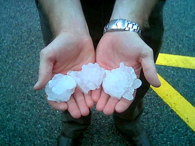 Tennis ball hail that fell in the Mink Shoals area.