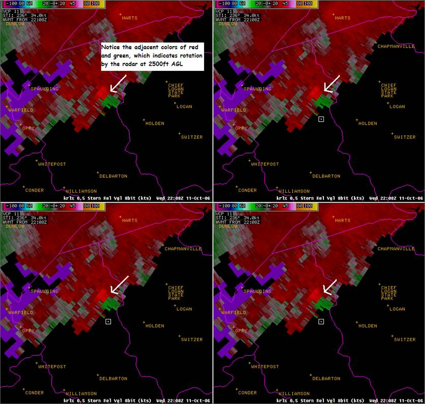 Storm Relative Velocity Data from KRLX WSR-88D
