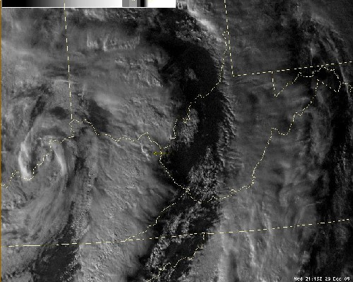 Figure 2 - Satellite image of overshooting cloud tops in Carter County, KY.