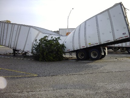 Damaged Tractor Trailer