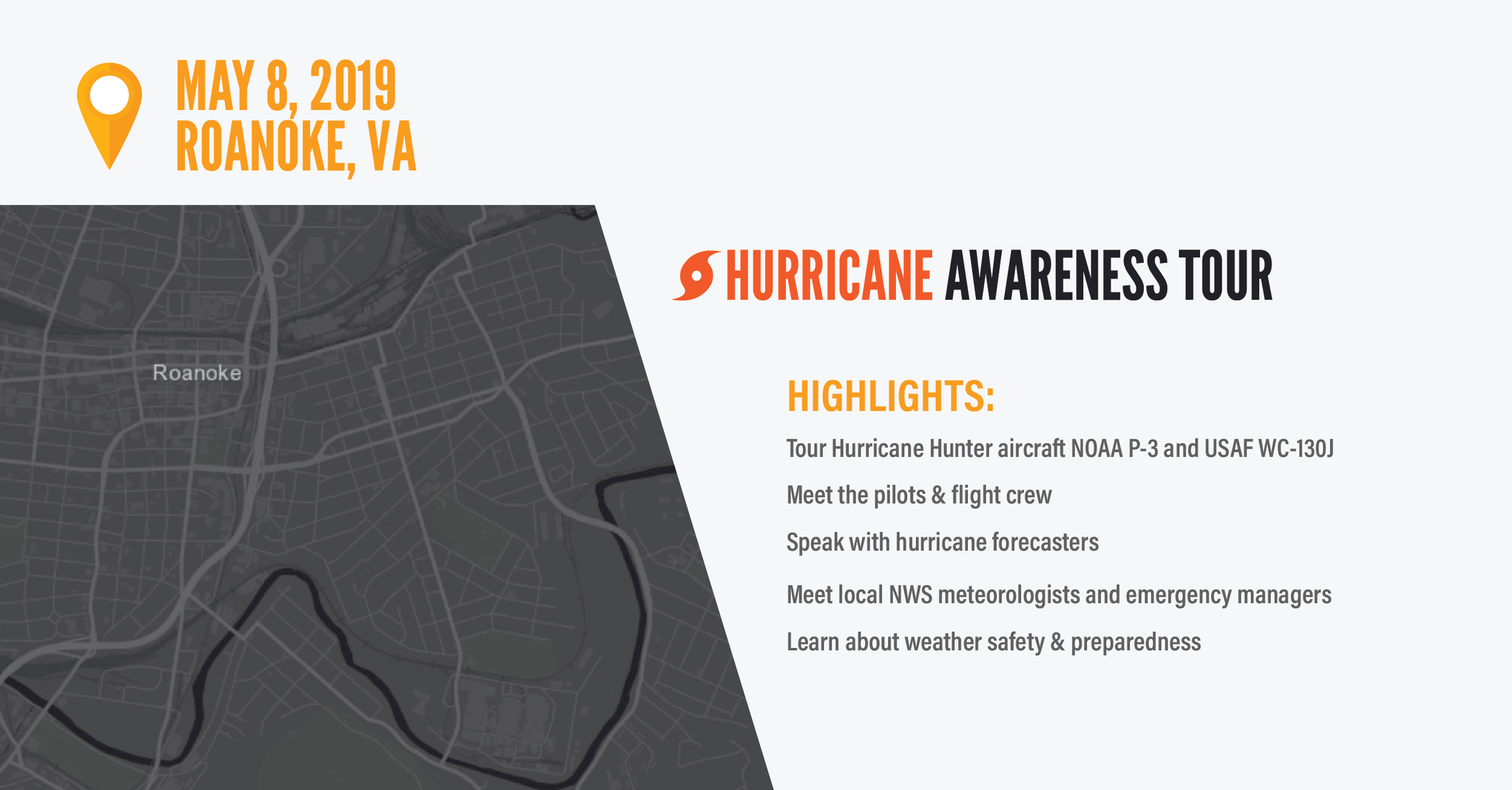 This image advertises the 2019 Hurricane Awareness Tour at Roanoke. Virginia