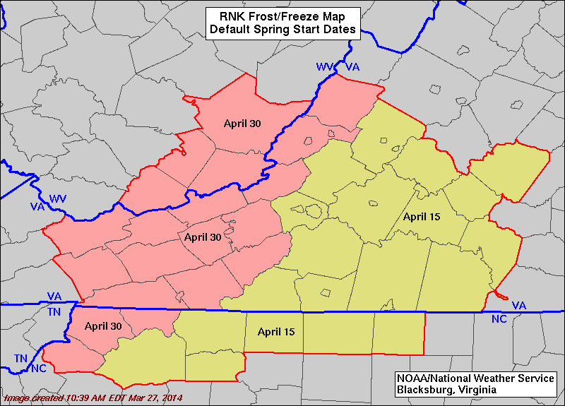 Map of Spring Start Dates for Issuing Frost or Freeze Products