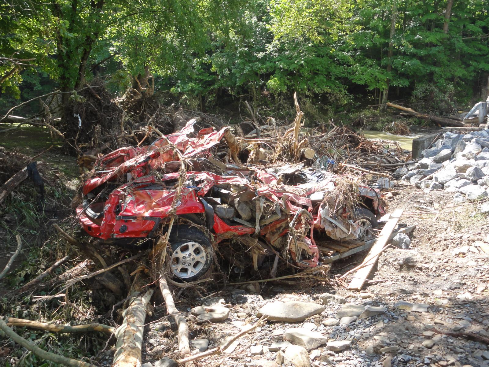 Car destroyed along Howards Creek in Greenbrier County, WV
