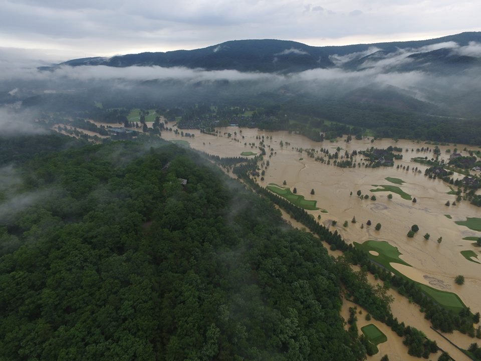 Aerial view of Greenbrier Golf Course flooded