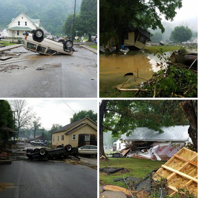 Photo Collage of flood damage in White Sulphur Springs, WV