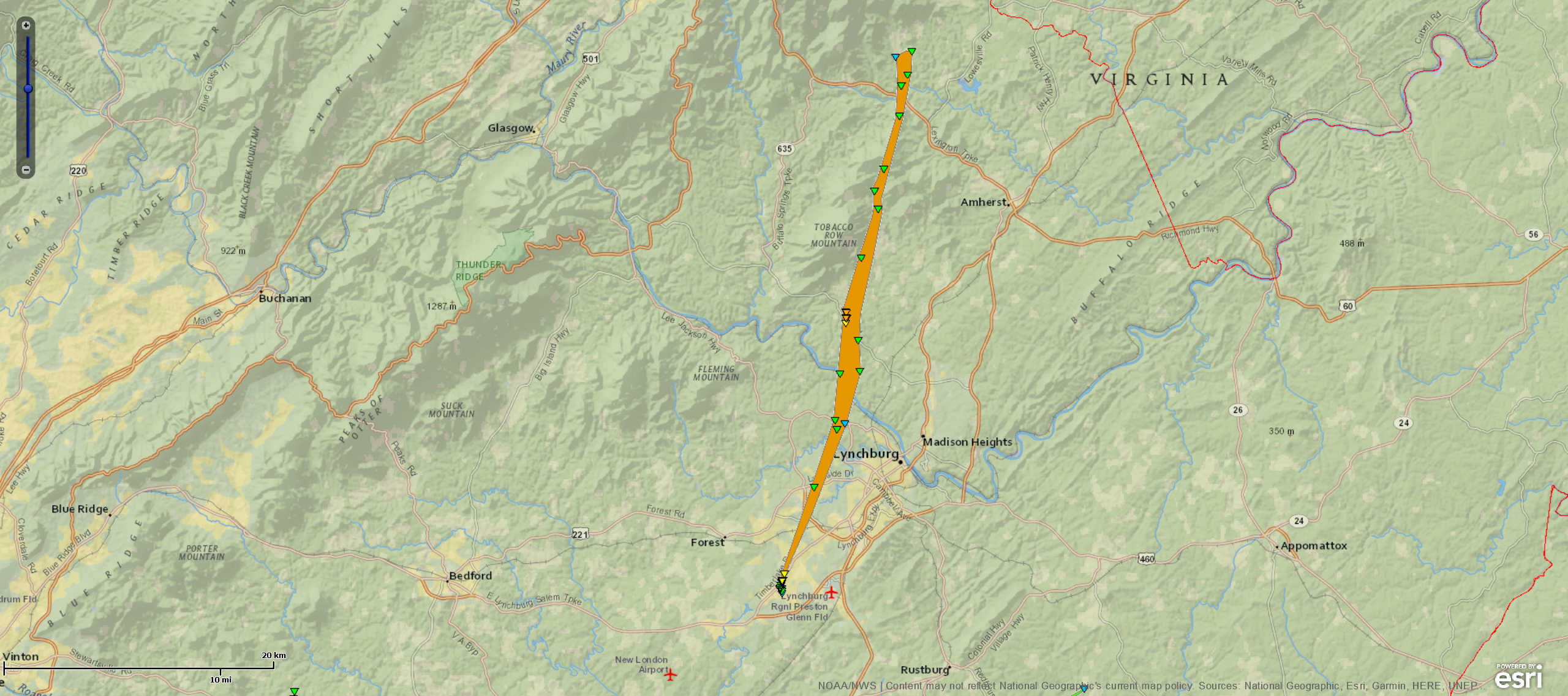 Campbell to Amherst Tornado Track Map
