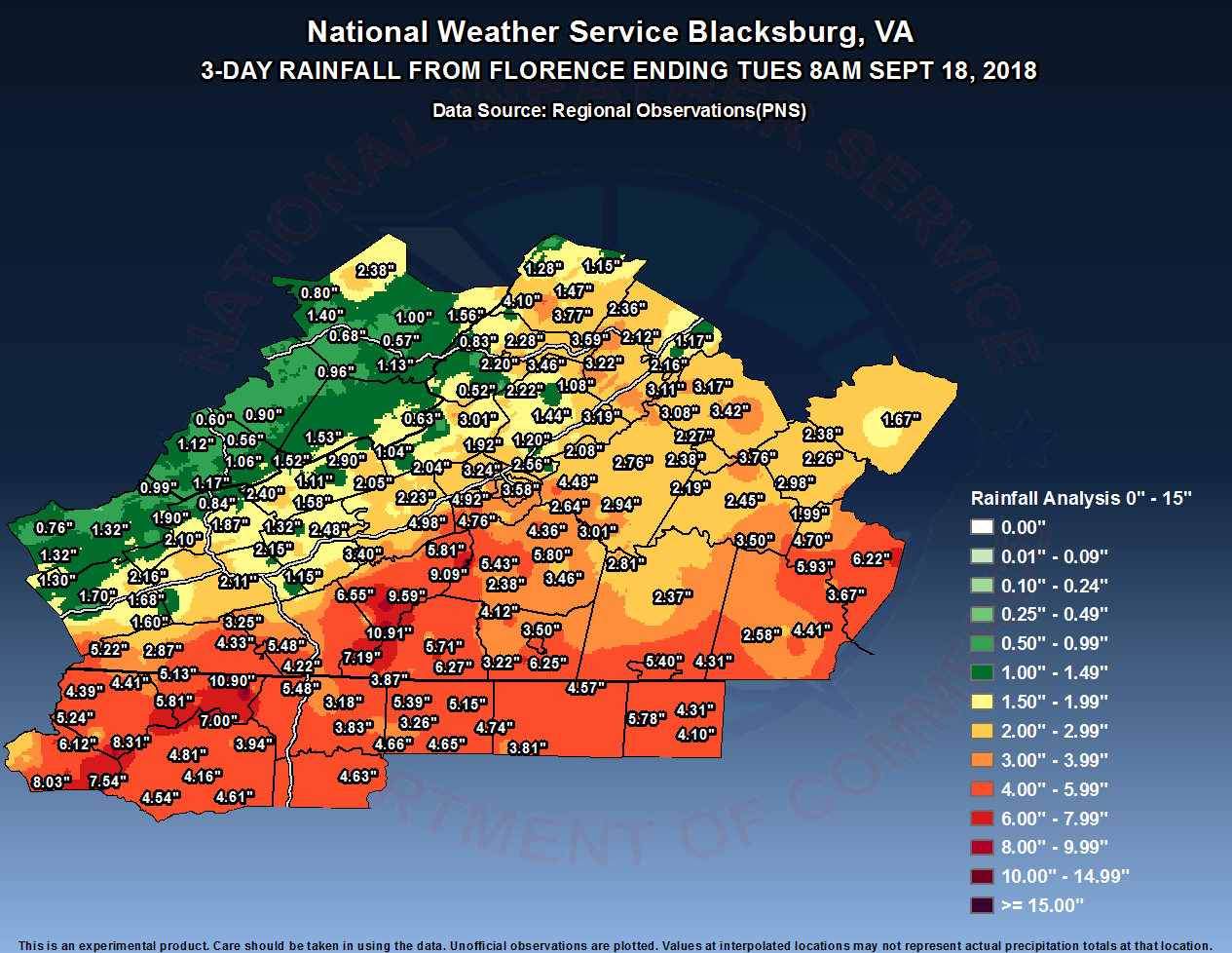 Event Summary for Florence For NWS Blacksburg's Area