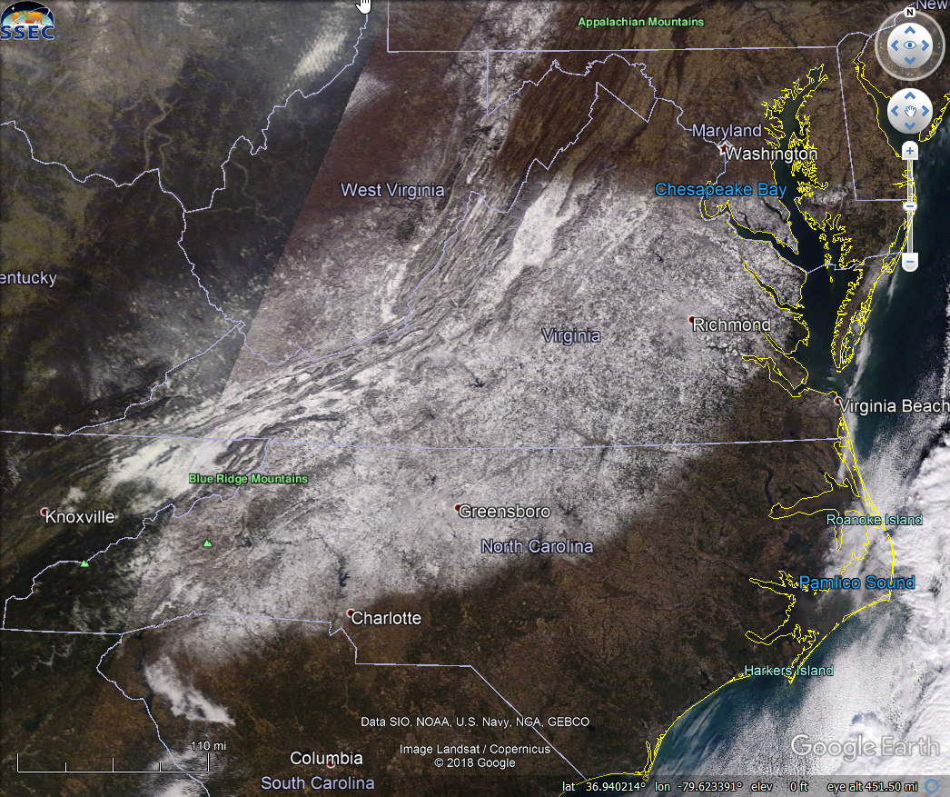 Satellite showing snow coverDecember 10th