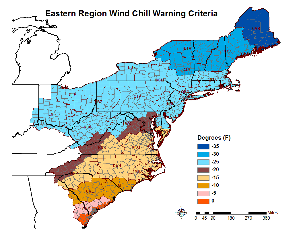 Wind Chill Warning Criteria map