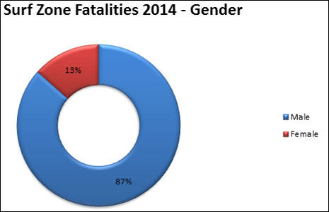 2014 fatalities by gender, 875 male, 13% female
