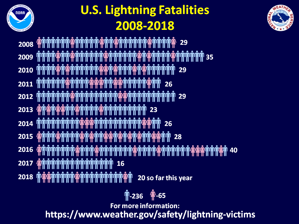 Chart showing male vs female lightning deaths through 2008, text equivalent available