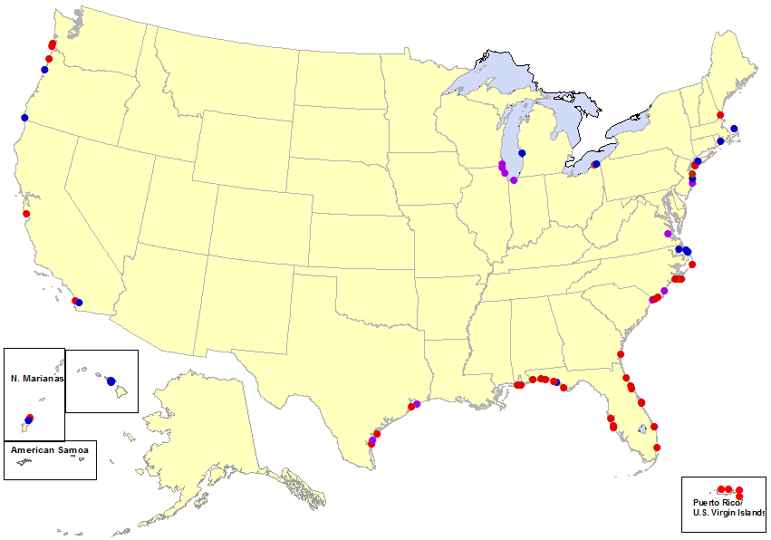 map showing rip current fatalities in 2018. See list below for equivalent information.
