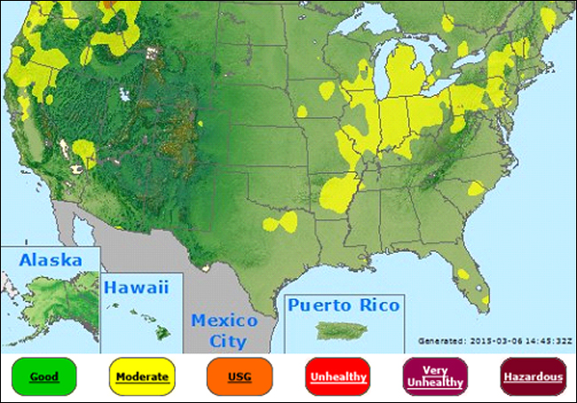 Air Quality Us Map Air Quality Index