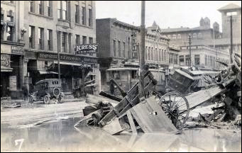 Debris on the 200 block of North Main Street in Pueblo, CO, after the June 3, 1921 flood. Courtesy Photos/Pueblo City-County Library District