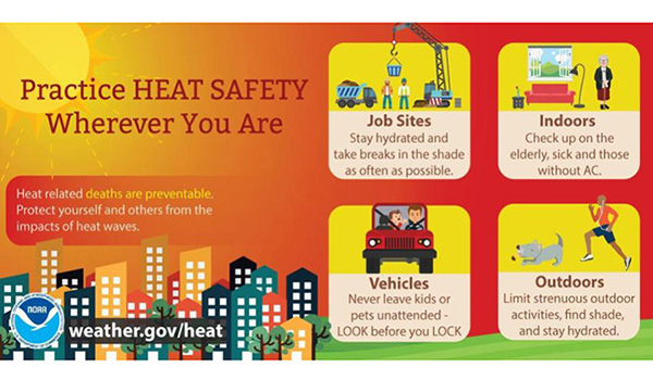 practice heat safety at work, home, in your vehicle and outdoors