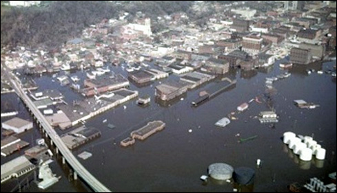Floodwaters from the Mississippi River inundate downtown Dubuque, Iowa in April 1965. Photo taken from EncyclopediaDubuque.org (source unknown).