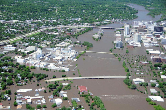 Downtown Cedar Rapids, Iowa on June 13, 2008 as the Cedar River crested more than 11 feet above its previous record. Photo by the Iowa Civil Air Patrol.