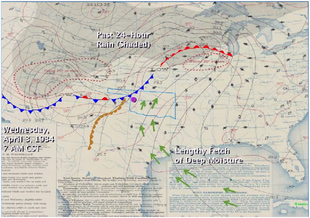 A Daily Weather Map, dated 8 AM EST on April 3, 1934, from the National Oceanic and Atmospheric Administration's Central Library. Meteorologists at the National Weather Service in Norman, OK, modified the map by denoting a frontal boundary, possible dryline, and a lengthy fetch of deep Gulf moisture. The purple circle marks the Washita River basin upstream from Hammon, OK, where a severe flash flood took place later in the day.