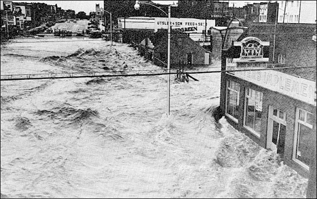 Flooding on the Boggy Creek at Enid, OK (East Main Street) on May 16, 1957. (Photo was provided courtesy of the Enid Publishing Co. and is from USWB Technical Paper No. 3, p. 63.)