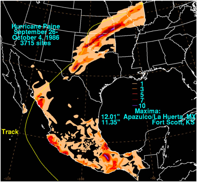 Storm total rainfall map of Hurricane Paine during September and October 1986. David Roth, NOAA, NWS, Weather Prediction Center, Camp Springs, Maryland