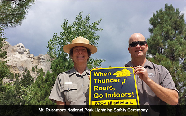 Mt. Rushmore National Park Lightning safety ceremony