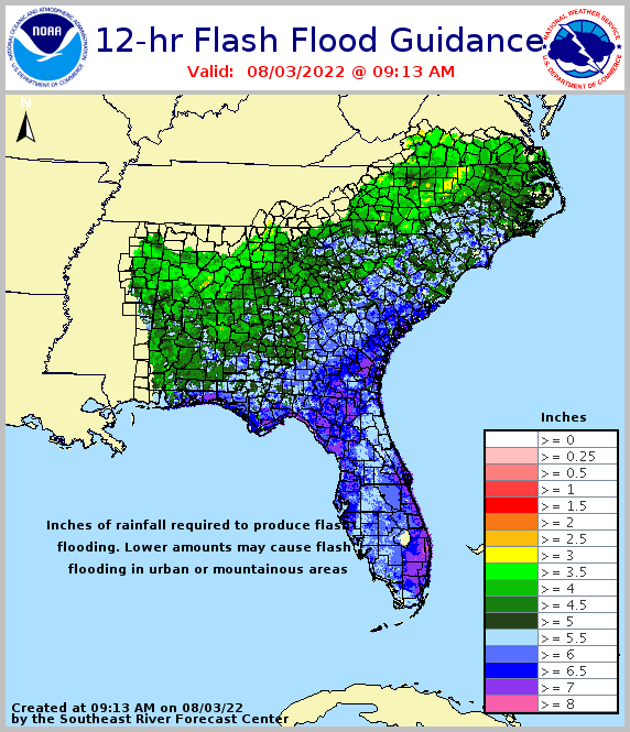 12 hour flash flood guidance for southeast U.S.