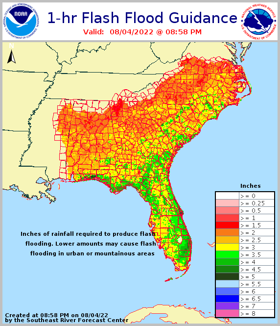 1 hour flash flood guidance for the Southeast U.S.